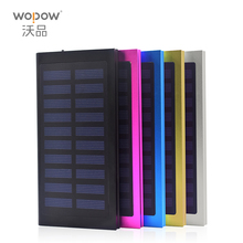 WOPOW Solar Power Bank 10000mAh Ultra-Thin Metal Solar Charger External Battery Pack Dual USB Charger for all Smart phone(China)