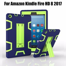 For Amazon 2017 New Kindle Fire HD 8 Armor Shockproof Hybrid Heavy Duty Protective Stand Cover Case For kindle fire hd8 2017(China)