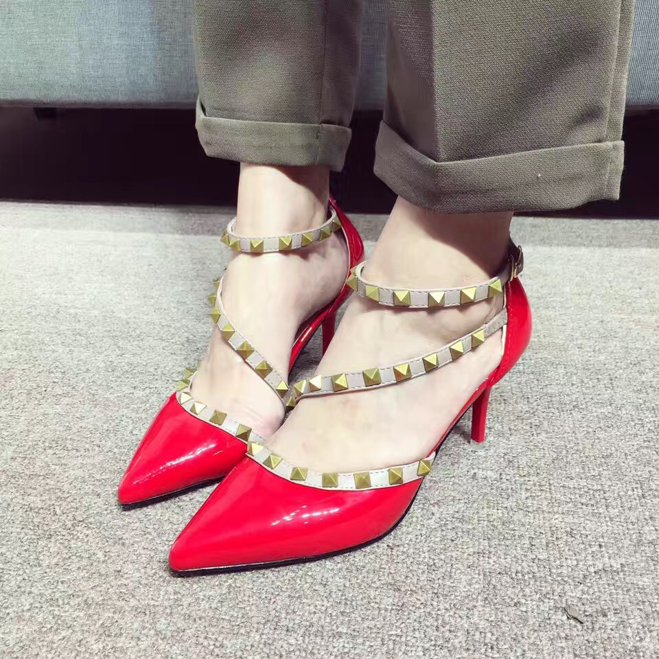 2017 New Cross Strap Red Pumps Pointed Toe Black Grey Thin High Heeled Shoes 8cm Zapatos Mujer Tacon<br><br>Aliexpress