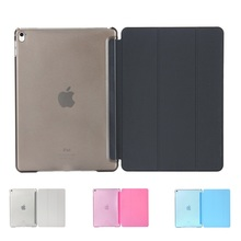 Ultra slim tri-fold couro pu com cristal traseira dura stand case smart cover para ipad air 2 ipad pro 9.7