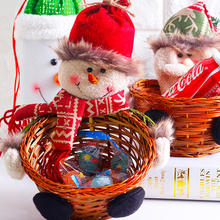 1 pieces Creative handmade Bamboo basket Christmas decorations candy box Christmas Desktop decoration event gift party supplies(China)