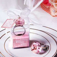 Cheap home party Favors wedding gifts diamond ring shape keychain Key accessories wedding favors and gifts for guest 50pcs/lot(China)