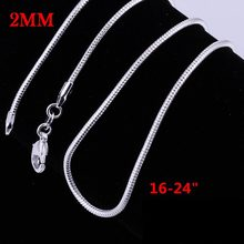 2MM 16-24inches snake chain NEW ARRIVE hot sale silver plated women men Necklace jewelry for pendant DIY BEADS(China)