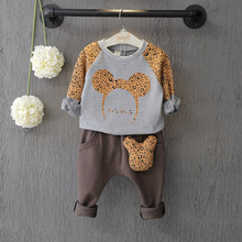 2016 Newest Fashion Leopard Boys Clothing Sets Cartoon Long Sleeve Children Clothes Kids Pullover Clothes + Pants Suit