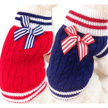 Navy Pet Dog Clothes Warm Sweater Puppy Coat Winter Outfit For Dog Chihuahua Clothes Dog Sweater Coat for Small Pet 25S2(China)