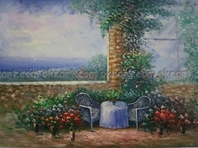 Seascape Tuscan Scenes vineyard Balcony Italy Office background free shipping oil paintings on canvas Modern Art Deco