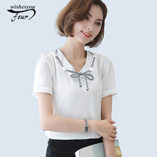 2017 summer new casual girl's blusas V-neck chiffon blouse Women bridal plus size solid color all-match shirt crops tops 952F 30(China)