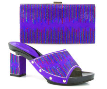 TH16-37 Purple Beautiful Design Indian Bridal Shoes And Matching Bag For Women Low Heels With Crystal Purse!