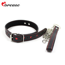 Buy Morease Slave Adult Neck Collars Chain Leash PU Leather Neck Collar Rings Neck Harness Bondage Kits Sex Toys Product