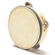 Musical Tambourine Beat Instrument Hand Drum Childrens Kids Musical Tambourine Natural Wooden Drum Rattles Educational Toy