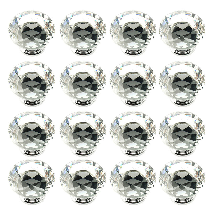 16Pcs 40mm Crystal Glass Rhinestone Shape Cabinet Knob Drawer Pull Handle Kitchen   Sale CLH<br>
