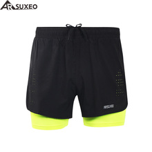 "ARSUXEO 2017 Mens Sports 3"" Running Shorts Active Training Exercise Jogging 2 in 1 Shorts with Longer Liner B179(China)"