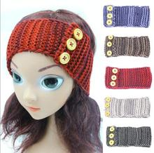 ON SALE 1PCS Three Buttons Girls Crochet Turban Knitted Headwrap Hair Band Winter Ear Warmer Headband Hair Muffs Band(China)