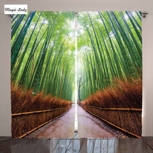 Home Decor Collection Path Bamboo Forest Kyoto Japan Landscape Image Living Room Bedroom Curtain 2 Panels Set Green Peru