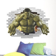 Cartoon 3d through Wall Avengers Hulk Peel Wall Sticker For Kids Rooms Wall Decals Home Decor Poster 3D Effect Home Decor(China)