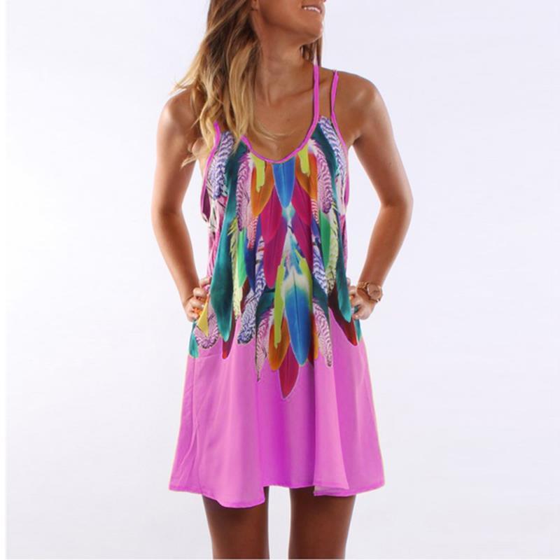 Women Bohemian Dress Feather Printed Beach Dress Causal Loose Spaghetti Strap Short Summer Dress S-5XL Plus Size Robe WS804O 3
