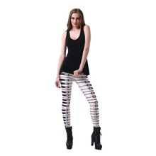 Sexy Elastic Pants 3D Digital Printing Piano keys Pattern Women Leggings 7 sizes Fitness Clothing Free Shipping Wholesale(China)