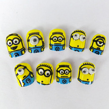 24pcs Cute Children Fake Nails Yellow Minions Designs French Manicure Unhas Tips Acrylic Children Print False Nails Pre-glue