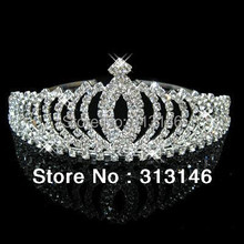 Wholesale Bridal Wedding Crystal Rhinestone Crown Princess Crowns Pageant Silver Plated Tiaras Hair Comb Headband Customized