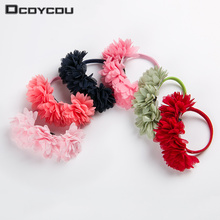6 PCS Chiffon Flowers Children Baby Girls Hair Accessories Rubber Bands Barrettes Girl Headwear Bow(China)