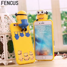 Popular Yellow Minion Design coque for iPhone 7 7plus 6 6s 6splus 5 5s SE 3D phone case coque funda capa soft Silicon cover