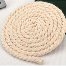 6MM 15Meters/Lot 100% Cotton Rope Ribbons 3 Folded Knitted Twisted Cotton Rope Cords for DIY Craft Decorative Bondage(China)