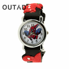 OUTAD Black Red 3D Rubber Cartoon Children's Watch Boys Kid Analog Quartz Sports Wrist Watches Montre Enfant Relogio(China)