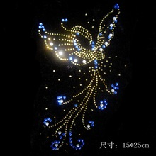 2pc/lot  butterfly rhinestone pattern iron rhinestone transfer designs hot fix rhinestone rhinestones patches for shirt