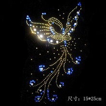 2pc/lot butterfly rhinestone pattern iron rhinestone transfer designs hot fix rhinestone rhinestones patches for shirt(China)