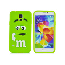 New Arrival 3D Cute Cartoon M&M Chocolate Cover Case Colorful Rainbow Beans Phone Case For Samsung S5 I9600 PT1524
