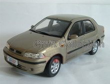 Color Gold 1:18 Fiat Siena 2002 Alloy Scale Models Classic toys Car Replica