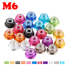 M6 Purple Silver Sky Blue Multicolor Antistatic DIY Nylon Gasket Anodic Oxidation AL Aluminum Alloy Hex Hexagon Lock Flange Nut