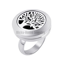 20mm Tree of Life Diffuser Locket Ring with Crystals Dropship Essential Oils Stainless Steel Aromatherapy Diffuser Locket Ring(China)