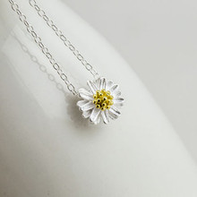 925 Sterling Silver Pendants&Necklaces Daisy Necklace Jewelry Collar Colar de Plata 2017 New Free Shipping Wedding Birthday Gift(China)