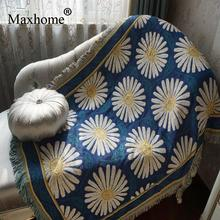 American Country Cotton Blanket White Daisy Soft Sofa Blankets Throws Rugs Sofa Cover Table Cover Print Home Deco 130*160cm(China)