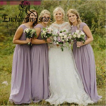 Sexy Lace Appliques Bridesmaid Dresses Lilac Chiffon 2017 Cap Sleeves Corset Back V-Back Vintage A-Line Formal Prom Party Gowns