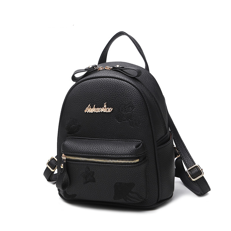 2017 New Woman Brand High quality PU Leather Fashion trend lovely mini backpack jellyfish embroidery small bag Lady bags<br>