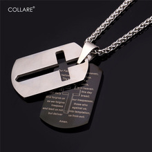 Collare Bible Lords Prayer Cross Stainless Steel Necklaces & Pendants Gold Color Wholesale Christian Jewelry Dog Tag Men P509(China)