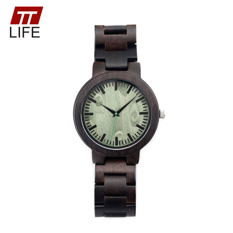 TTLIFE WD220 Top Brand Design Green Handmde Ebony Wooden Mens Quartz-Watch Classic Folding Clasp Wood Wristwatch in Metal Box<br><br>Aliexpress