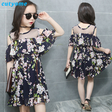 Cutyome Teen Girls Beach Clothing 2017 Trendy Fashion Cold Shoulder Kid Chiffon Ruffles Dresses 8 10 12 13 Years Children Frocks
