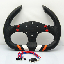 2017 Racing Sport Car 13inch 320mm Steering Wheel D Shape PU Leather Alloy Black SPC Steering Wheel F1 JDM(China)
