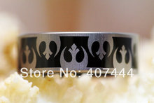 Free Shipping YGK JEWELRY Hot Sales 8MM Black Star Wars Rebel Alliance His/Her Men Tungsten Carbide Wedding Ring(China)