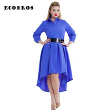 ECOBROS Big size 6XL 2017 Fat MM Woman Dress casual solid irregular long dresses without belt plus size women clothing 6xl dress(China)