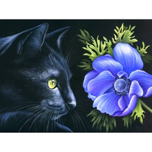 "NEW 30*40CM 5D DIY Diamond Embroidered Acupuncture Cross Stitch ""Black cat"" Diamond Art Wall Photo Christmas Decorative Gift"