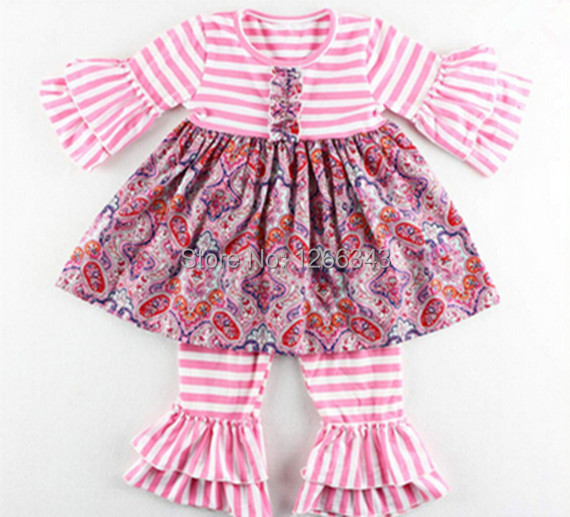 2017 Smocked Girls Toddler Boutique Summer Clothing Set Pink Striped Kids Clothes  Ruffle Girls Top and Pants set<br><br>Aliexpress
