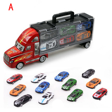 6/10/12pcs alloy plastic car model/simulation container truck Road signs slide/baby toys for children/toy/rc car/hot wheels(China)