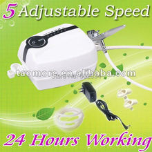 Freeshipping HOT! Portable Make Up Airbrush Mini Compressor 5 Speed with Airbrush Gun for glitter tattoo kits supplies