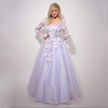 Lavender Long Formal Dresses A Line Long Sleeves Off the Shoulder Peplum 3D Appliques Handmade Flowers Free Petticoat