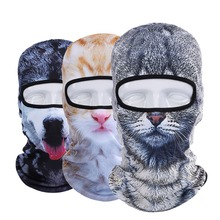 New 3D Animal Dog Cat Balaclava Cap Halloween Hats Bicycle Protection Helmet Full Face Mask(China)