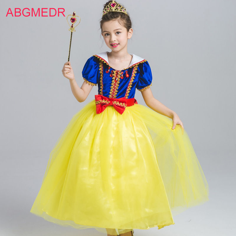 2017 Autumn Snow White Princess Dresses Kids Snow Queen Costume for Girls Party Dress Children Ball Gown Baby Cosplay Clothing<br>